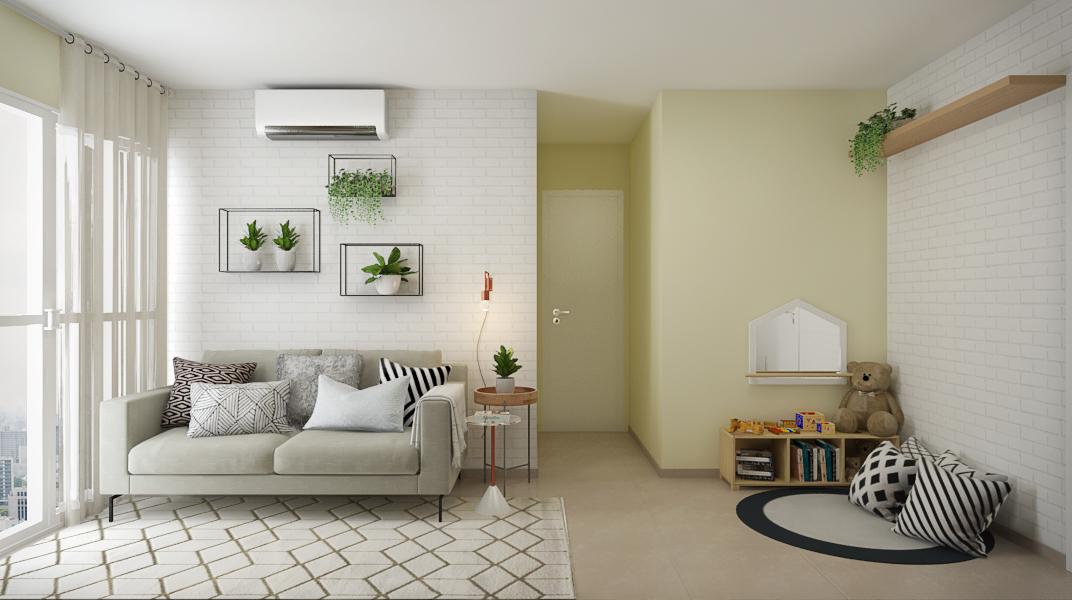 sala-pequena-com-nichos-para-plantas-e-espaco-para-crianca