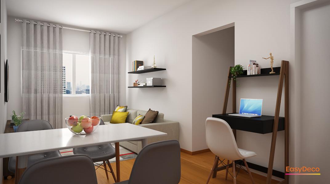 sala-pequena-com-mesa-de-jantar-retangular-e-mesa-de-home-office