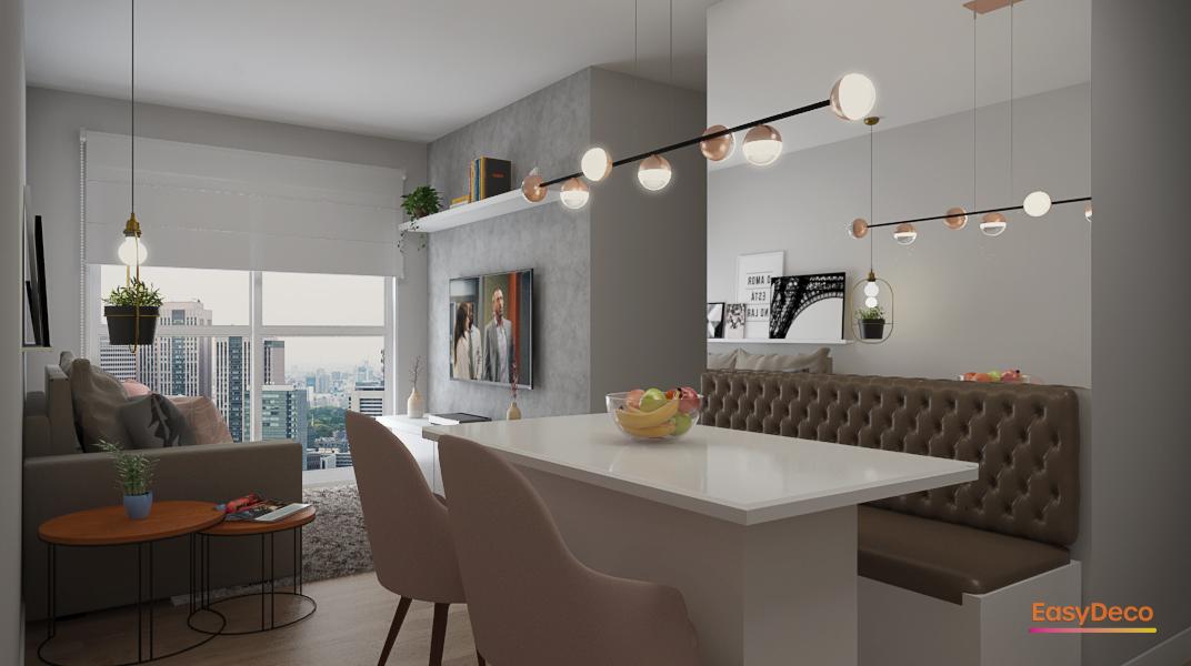 sala-de-estar-e-jantar-integradas-com-trilho-de-luminaria-pendentes-e-espelho