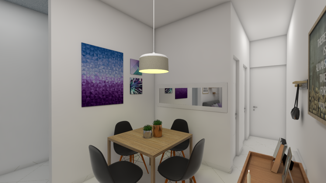 sala-pequena-com-canto-para-mesa-de-quatro-lugares-e-pendente-de-luz-branca