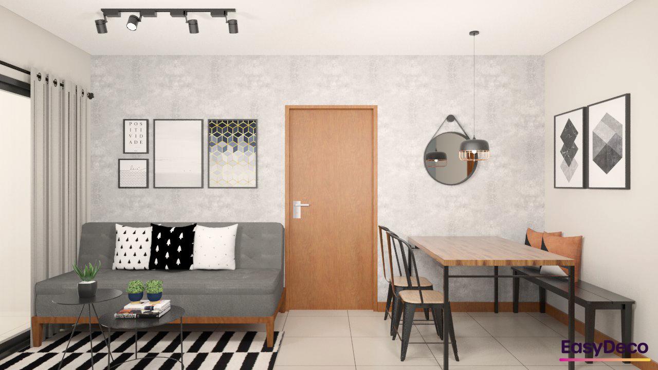 sala-pequena-com-sofa-pequeno-sem-braço-e-mesa-de-madeira-estilo-industrial